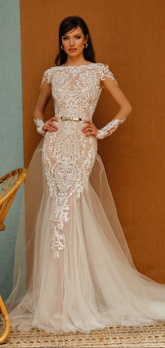 Cap sleeve embellished lace bridalgown with cuff sleeves