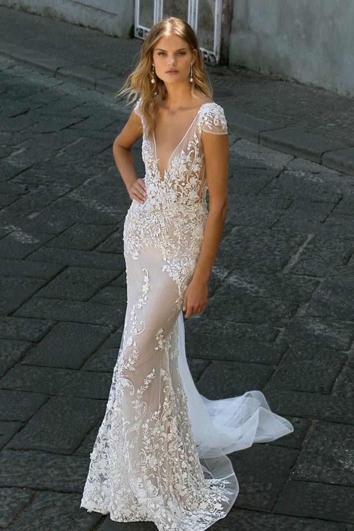 Cap sleeve sheer plunge neck bridal gownBerta style 20-105