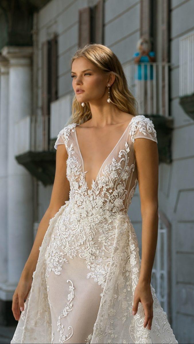 Cap sleeve deep v Berta bridal dress