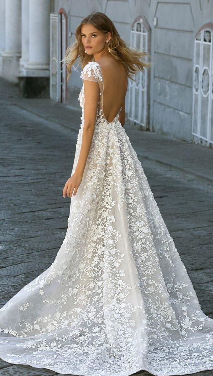 Scoop back embellished wedding dress