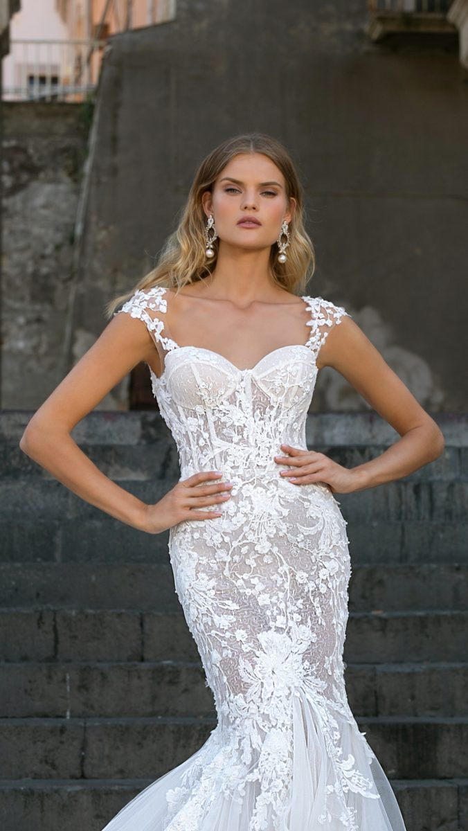 Corset lace wedding dress with cap sleeves