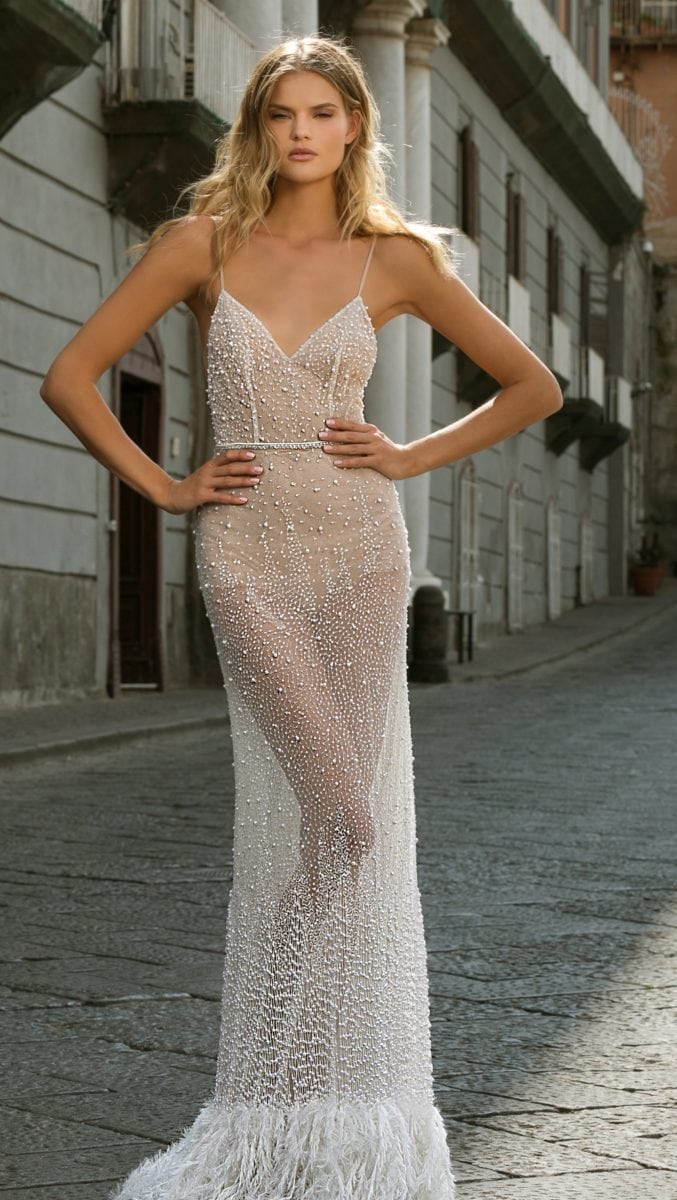 Nude beaded designer bridal with feather trim and beading