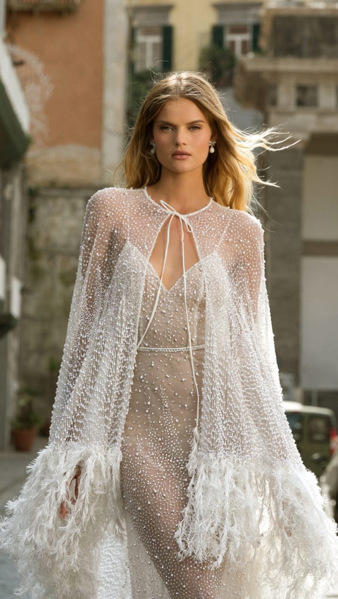 Beaded sheer bridal cape with trim