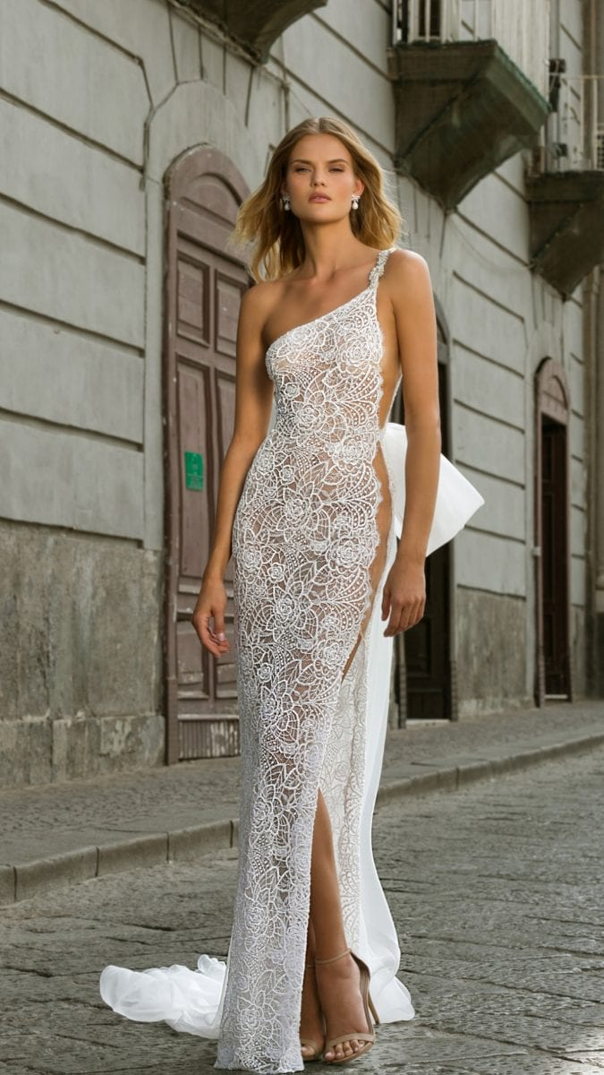 One shoulder lace gown with side slit and bow