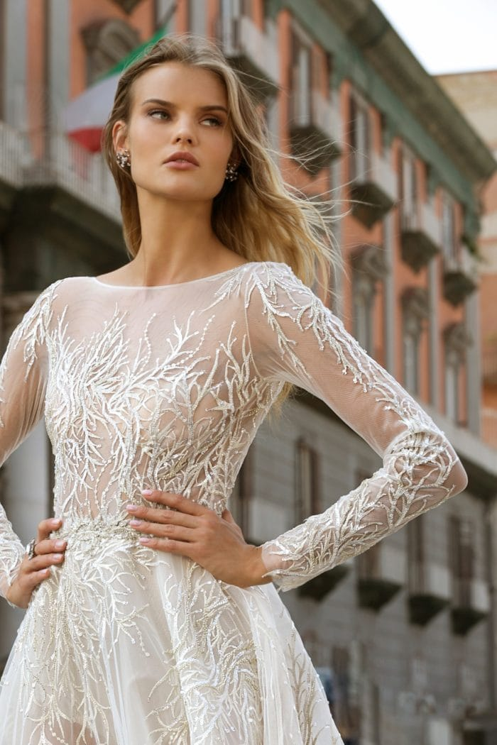 Long sleeve sheer beaded Berta Wedding Dresses Fall 2020