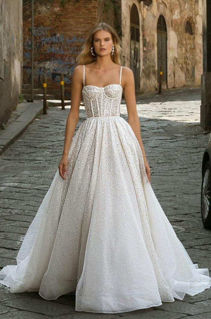 Corset sparkle ball gown wedding dress