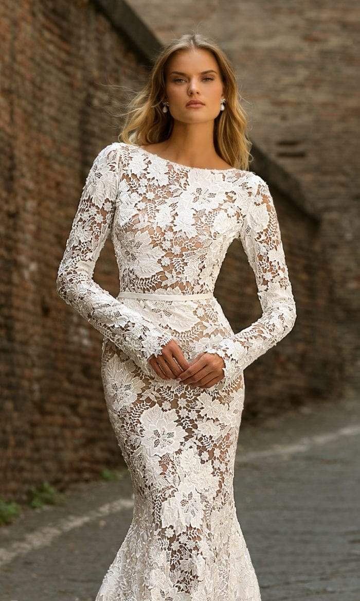 Long sleeve lace Berta gown