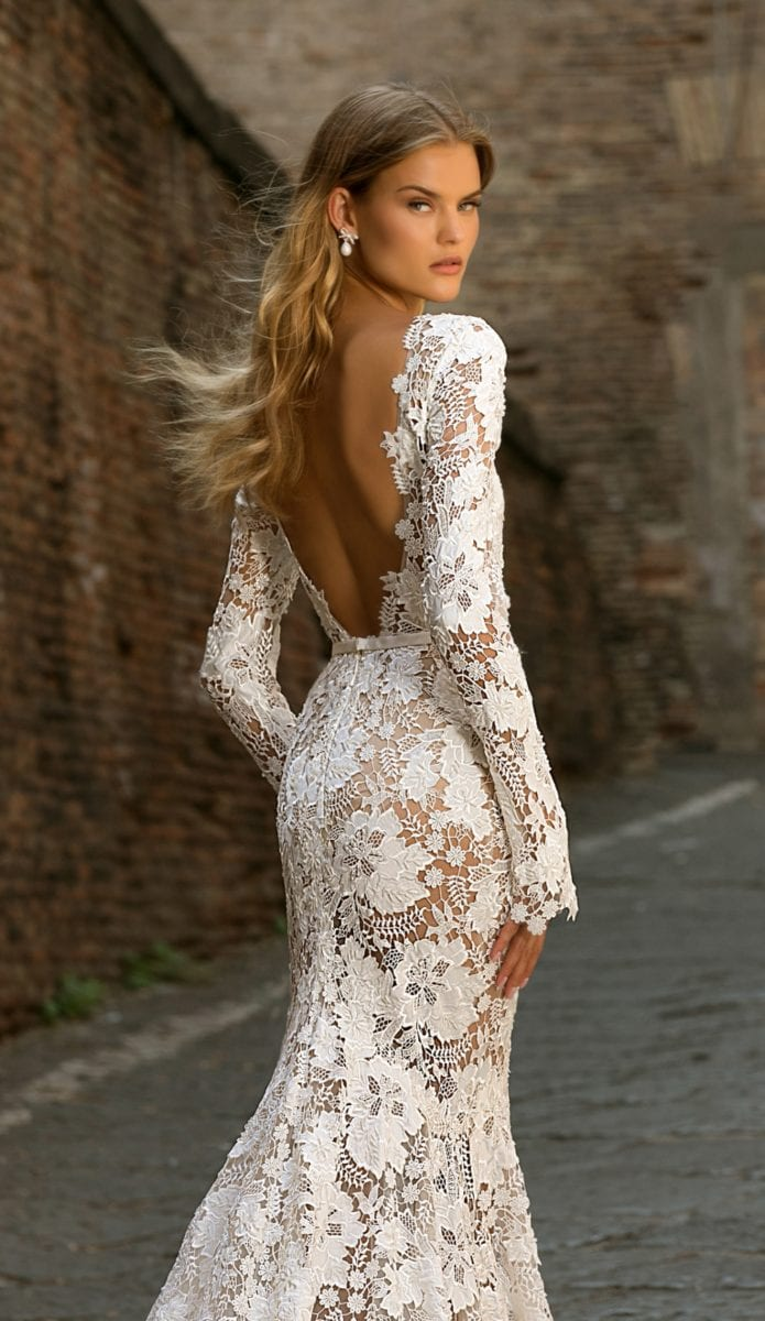Scoop back lace long sleeve Berta bridal gown