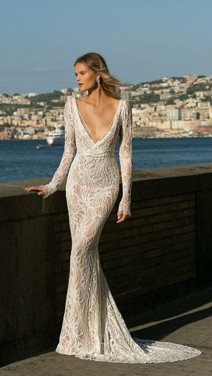 Long sleeve beaded v neck designer bridal gown