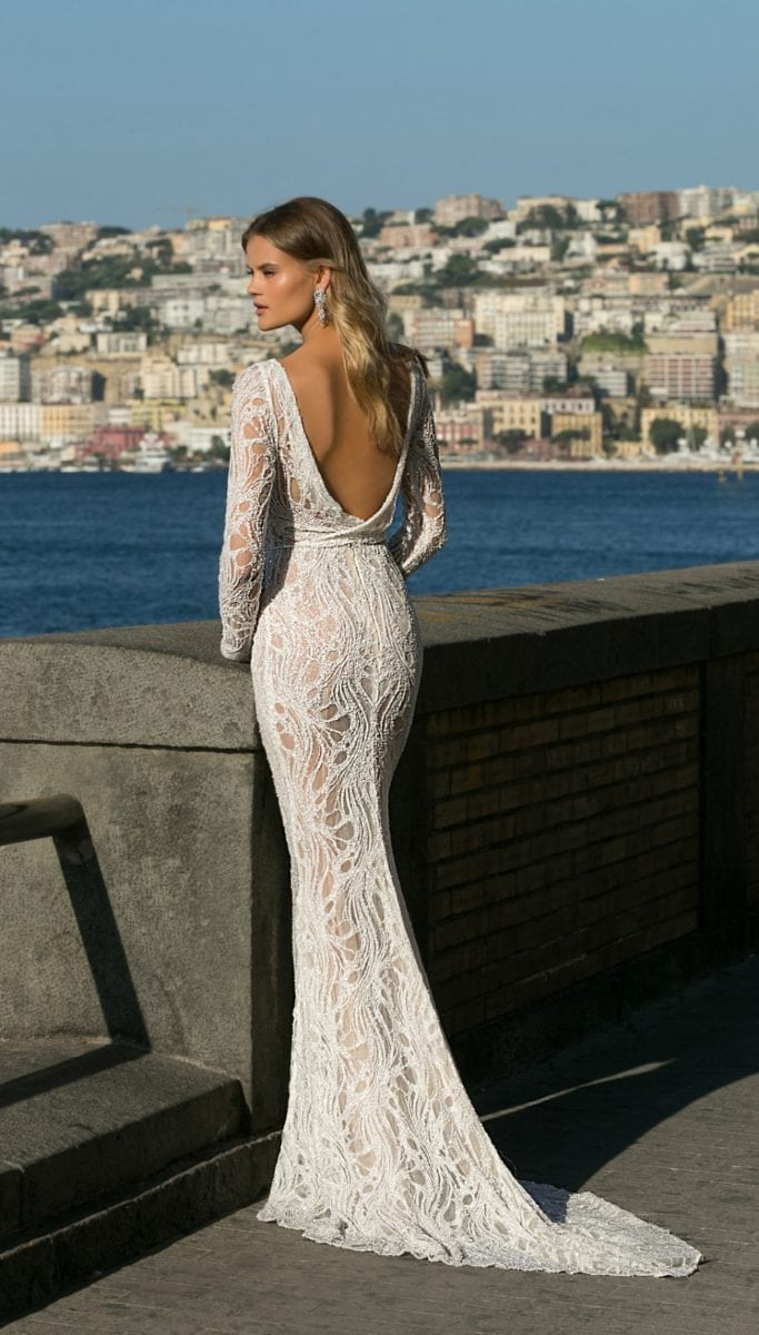 Beaded scoop back bridal gown with long sleeves