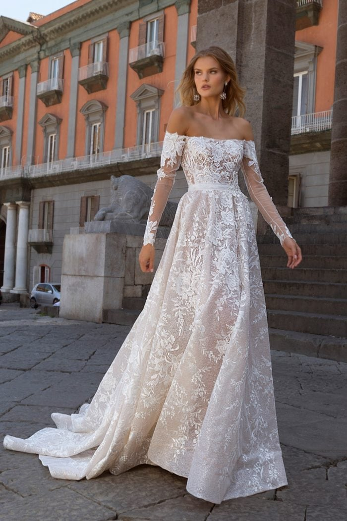 Off the shoulder long sleeve lace Berta 2020 gown