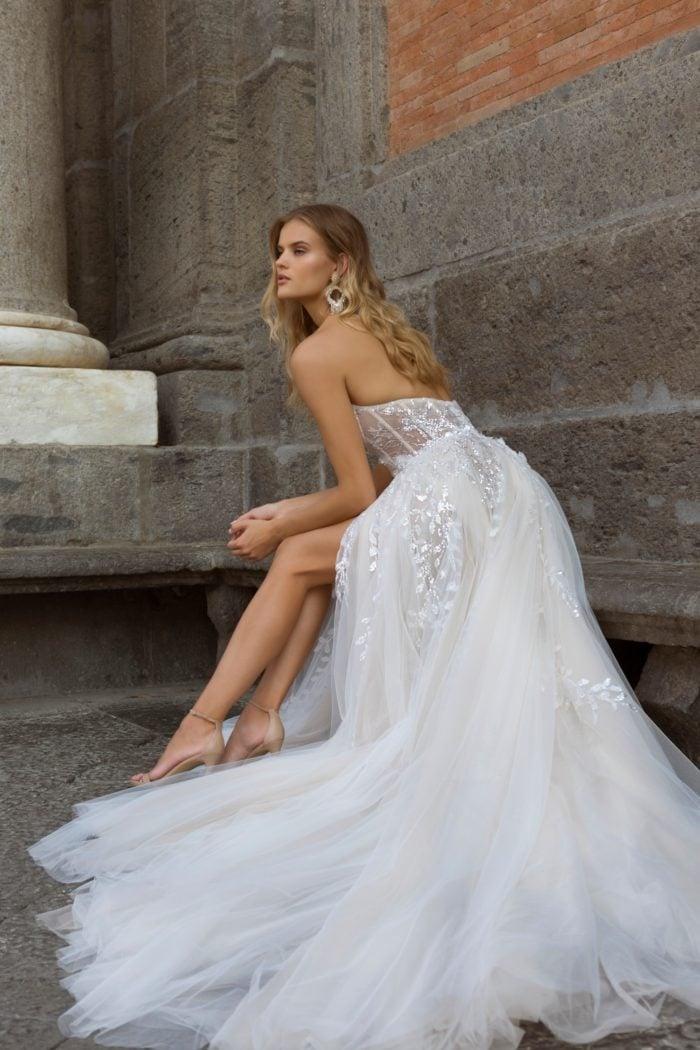 Strapless metallic tulle wedding dress Berta