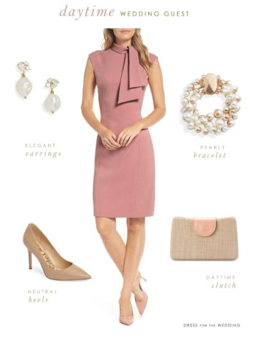 daytime wedding guest outfit in pink