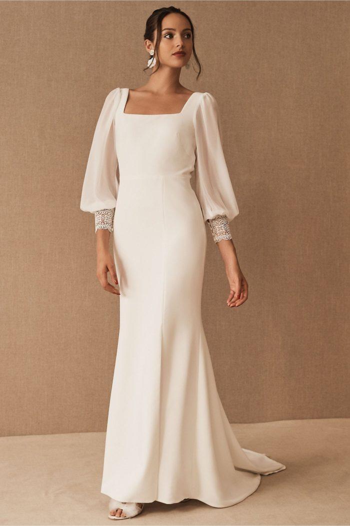 long sleeve bhldn wedding dress