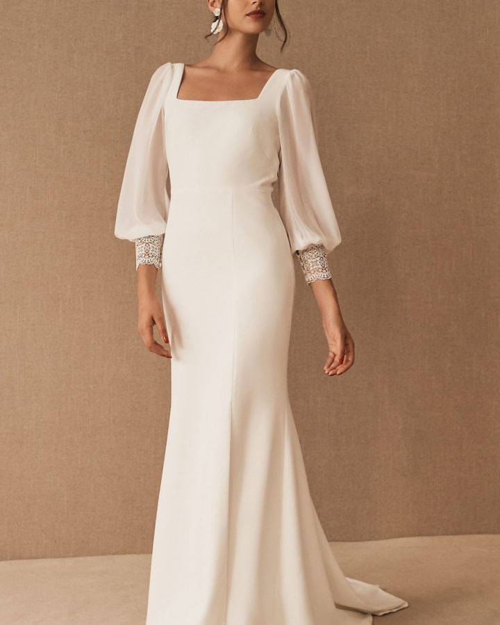 long sleeve bhldn wedding dress