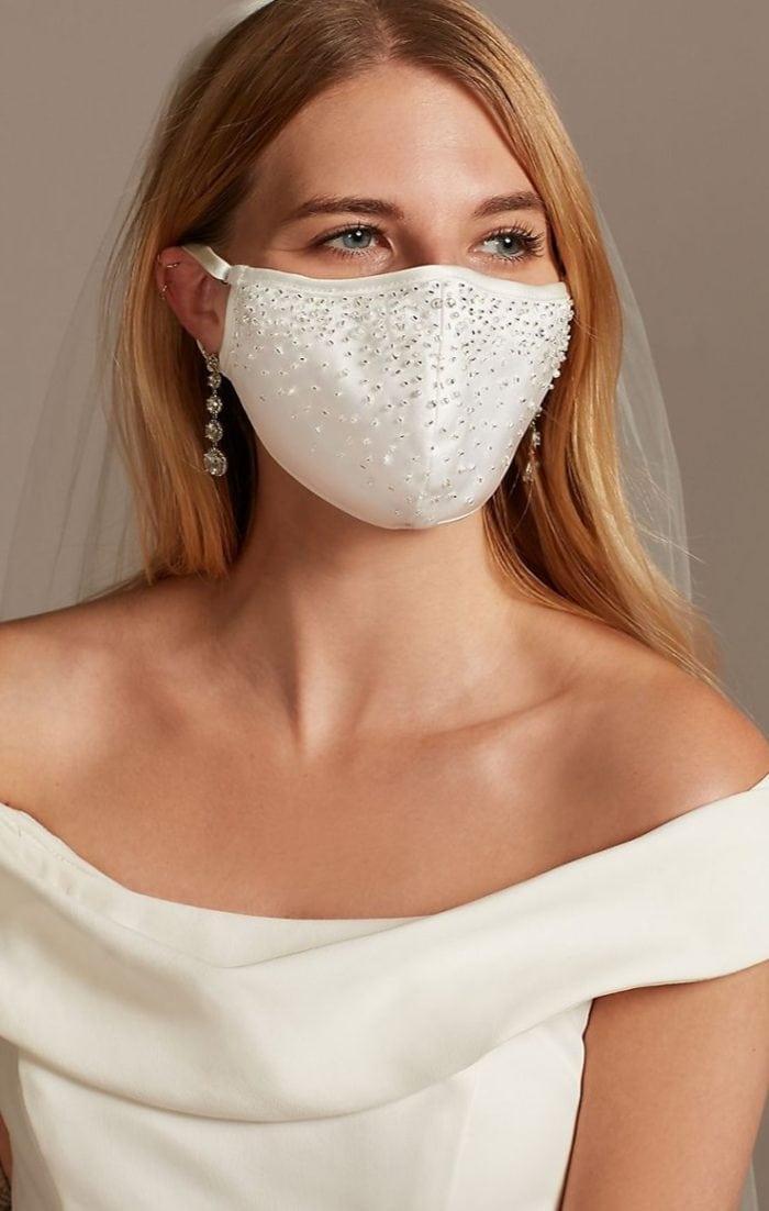 crystal embellished face mask for wedding