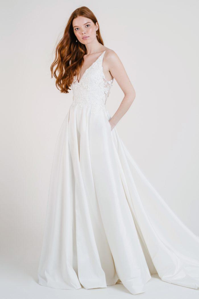 V neck wedding dress with floral applique