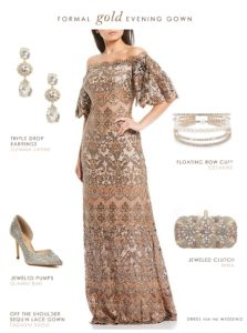 Formal evening outfit with gold gown and accessories