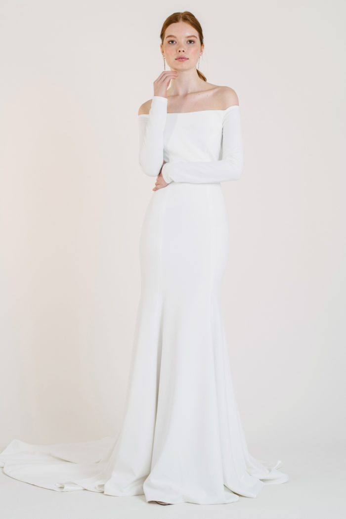 Long sleeve off the shoulder wedding dress
