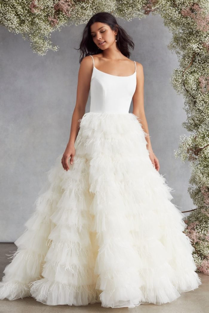 Feather and tulle bridal ballgown
