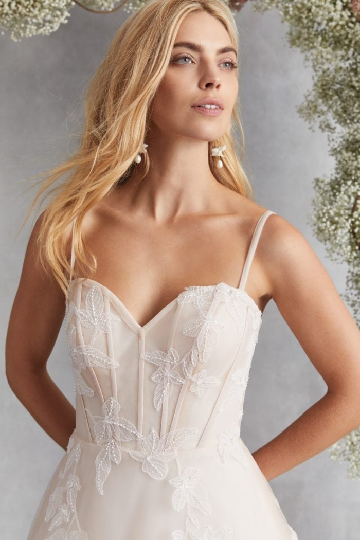 Blush corset wedding dres
