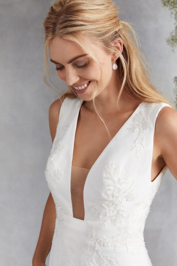 Plunge bodice gown