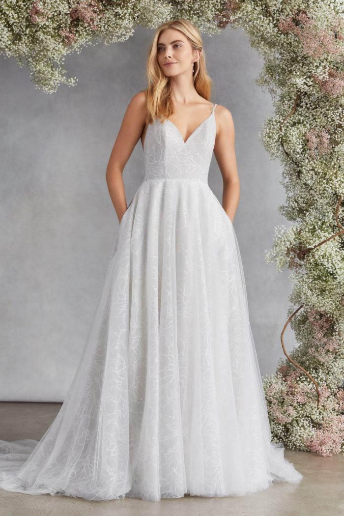 Pale blue wedding dress with pockets