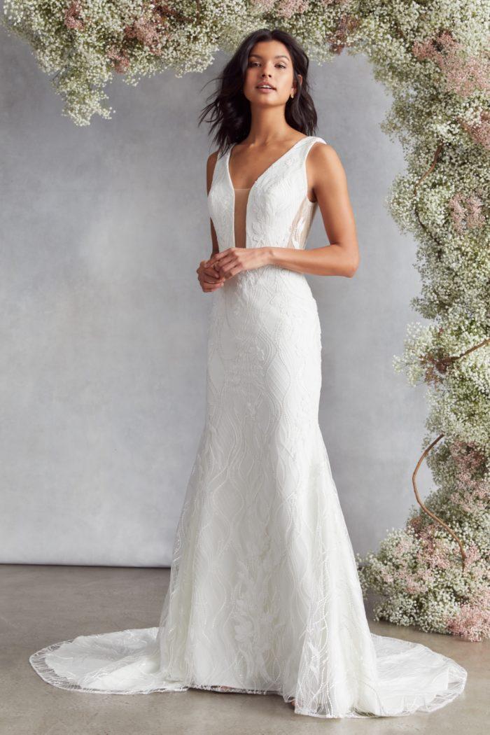 Plunge neck wedding dress