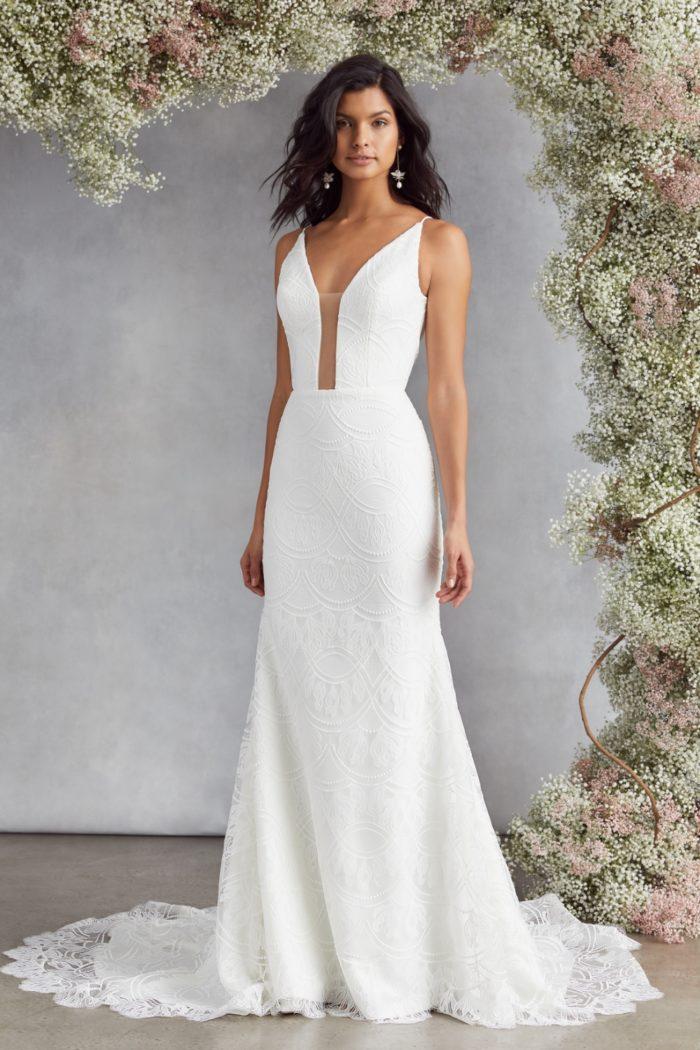 Deep plunge lace wedding dress