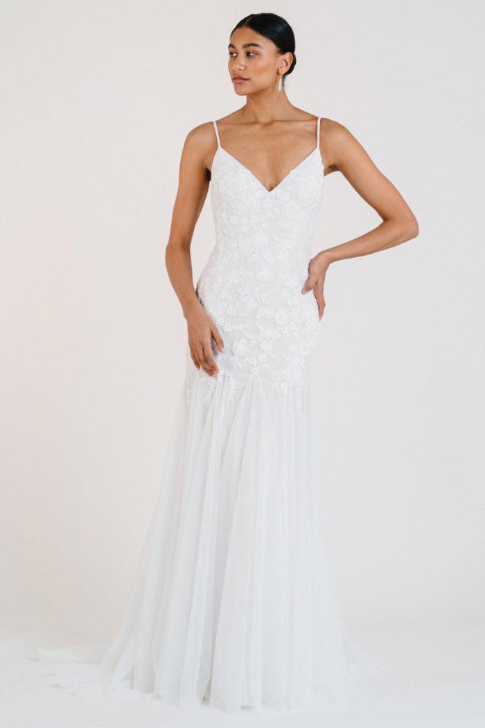 V neck spaghetti strap wedding dress