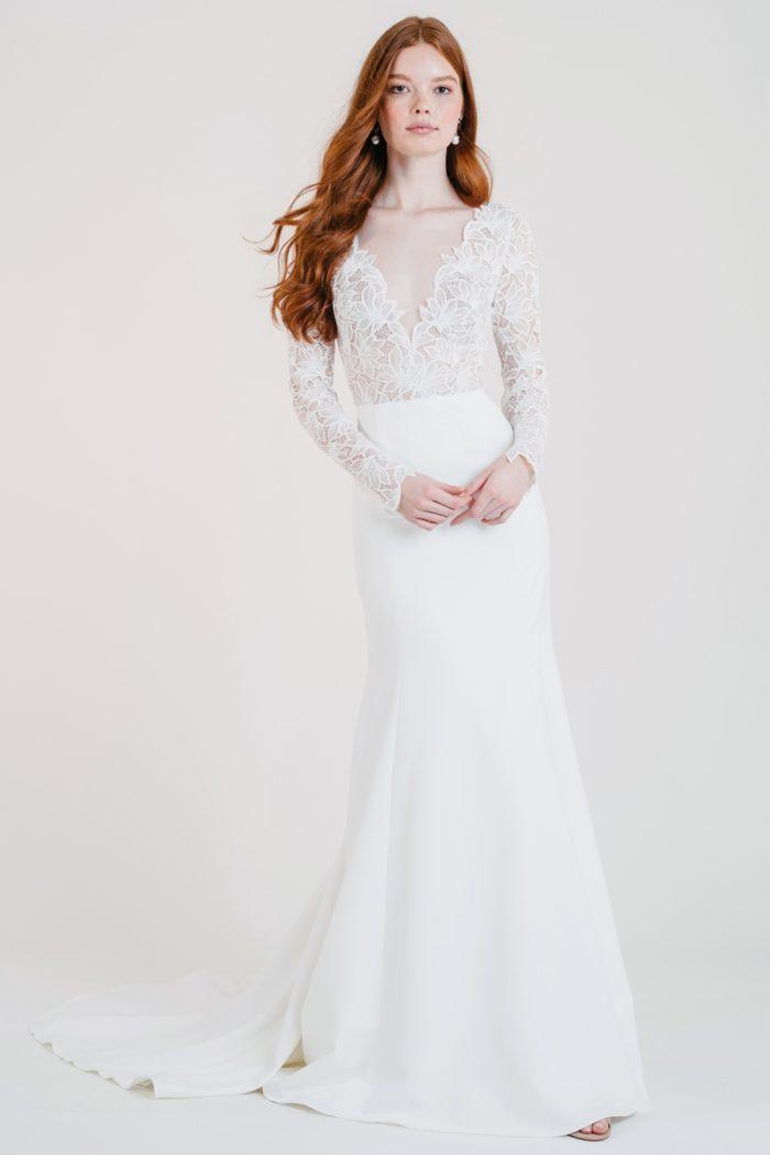 Long sleeve lace bodice wedding dress
