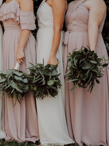 Bridesmaid dresses organized by color