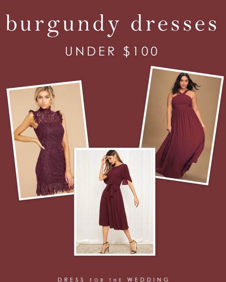 Burgundy bridesmaid and wedding guest dresses under 100