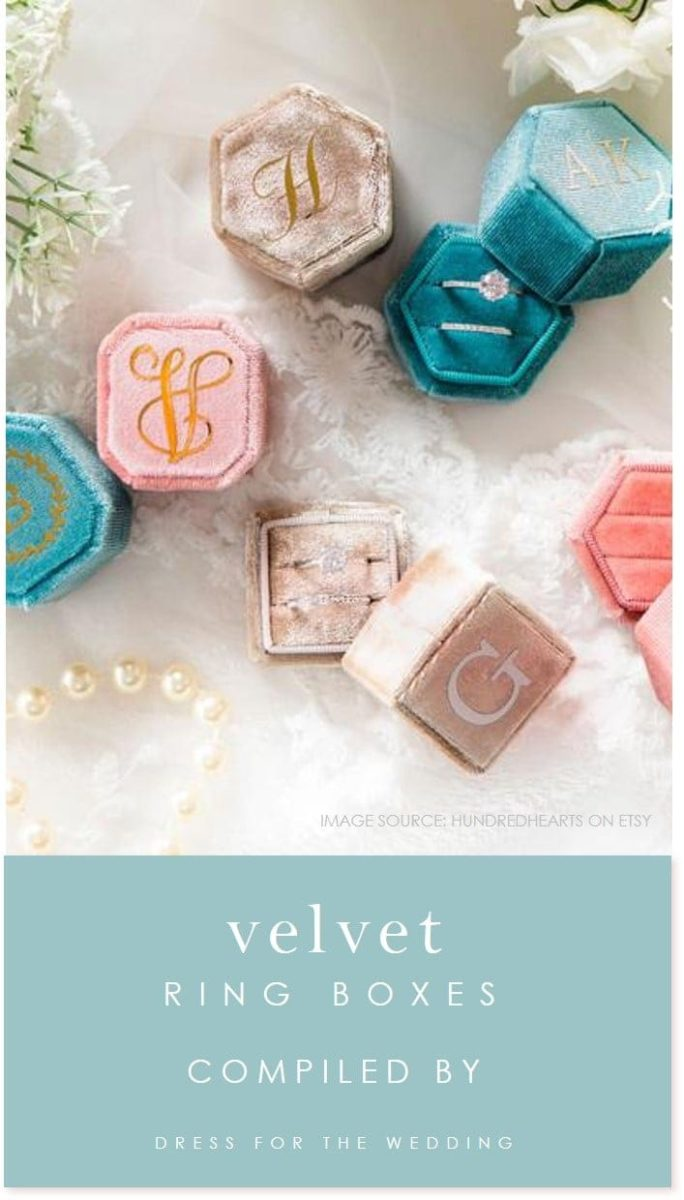 Velvet ring boxes for engagment rings