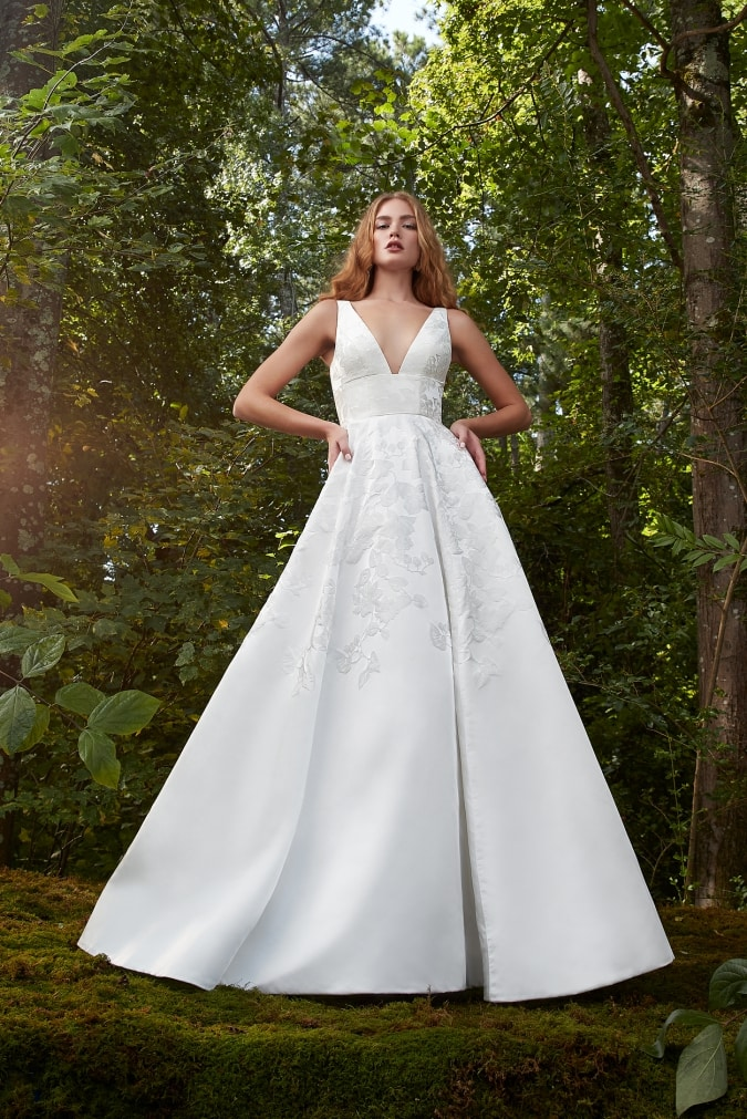 V neck ball gown wedding dress by Anne Barge