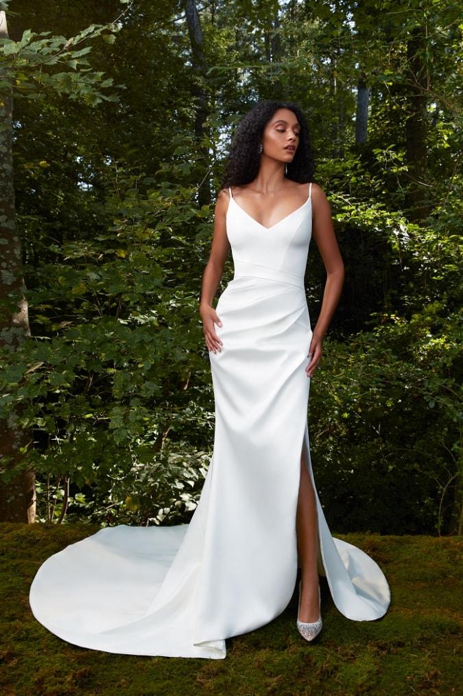 Draped cowl neck wedding dress
