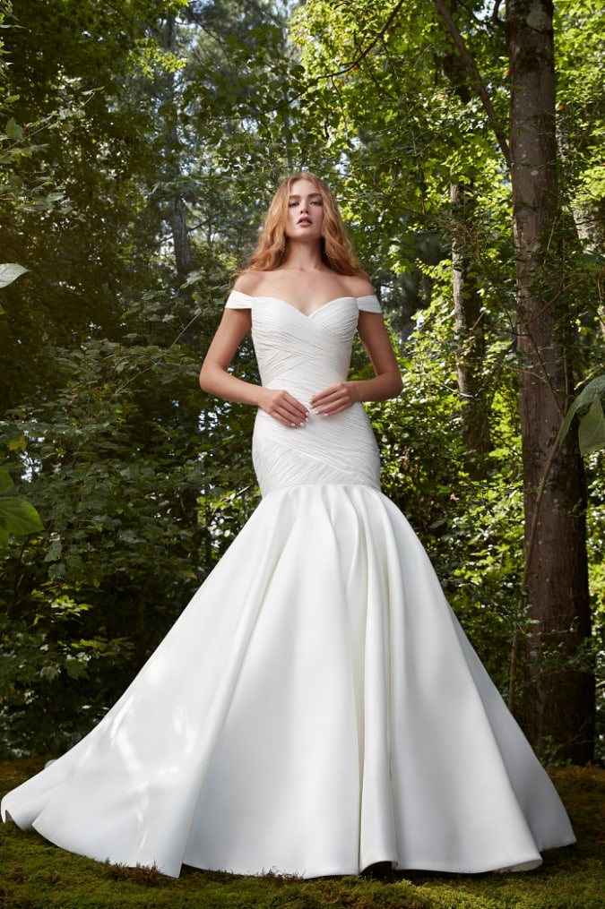 Off the shoulder bridal gown with wrapped bodice