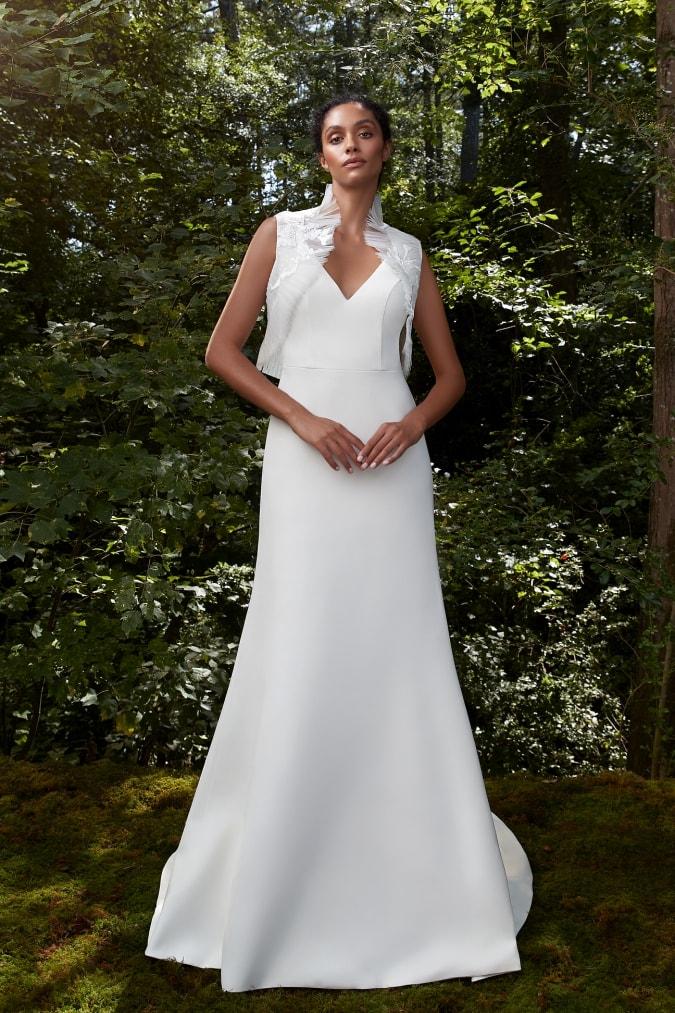 Wedding dress with vest topper