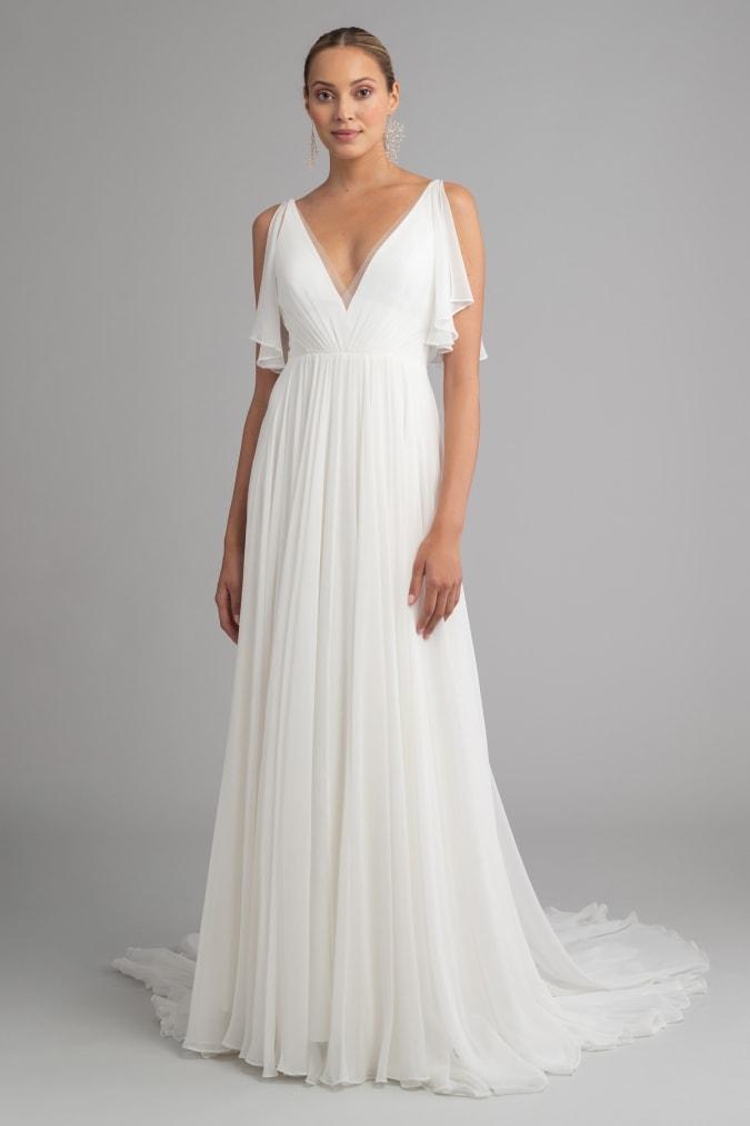 Flutter sleeve v neck goddess like wedding dress by Jenny Yoo