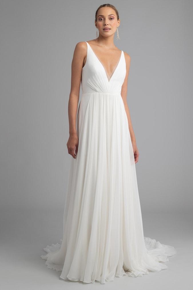 V neck ivory wedding dress with soft pleats Monica by Jenny Yoo