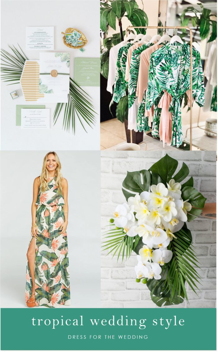 Attire and decor for a tropical wedding theme