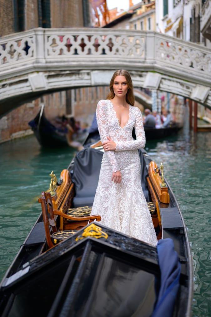 Long sleeve v neck lace wedding dress