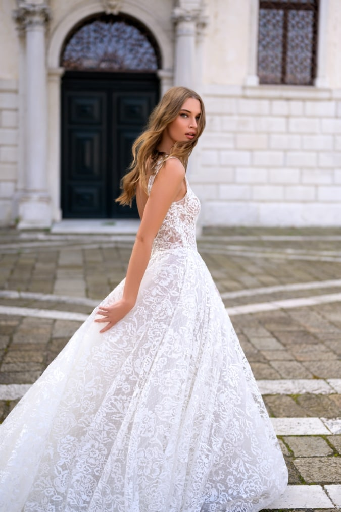 All over lace bridal gown