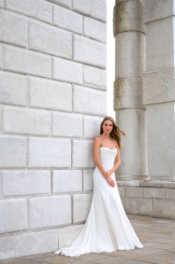 Cowl strapless bridal gwon