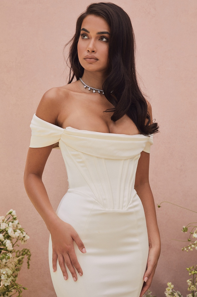 Off the shoulder corset wedding dress