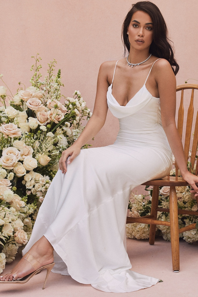 Draped neck satin spaghetti strap bridal gown
