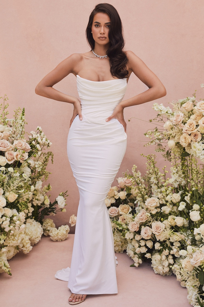 Structured u neck draped wedding dress under $100-