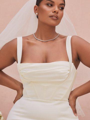 Wide strap square neck balconette plus size wedding dress