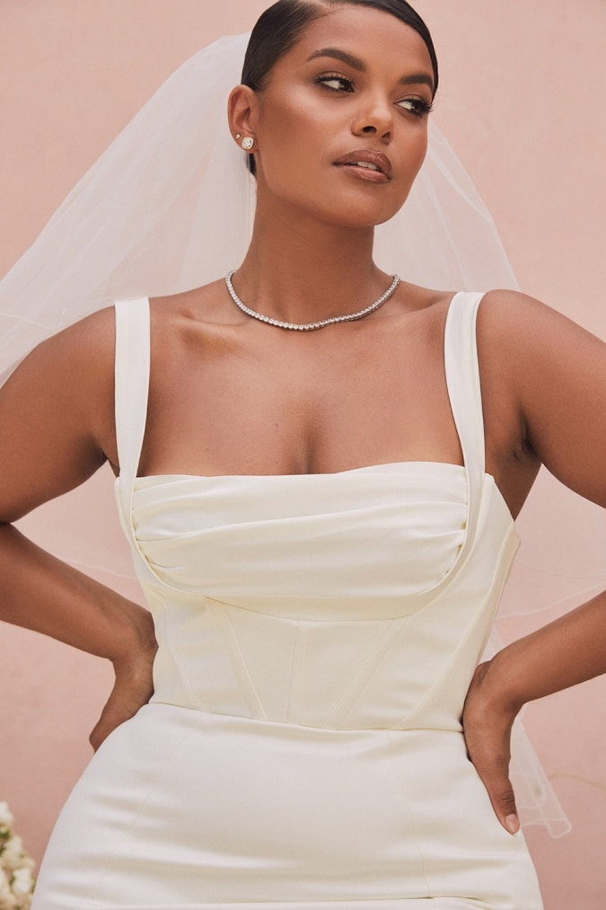 Wide strap square neck balconette plus size wedding dress