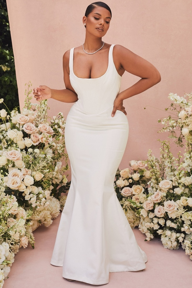 Square neck wide strap corset plus size wedding dress